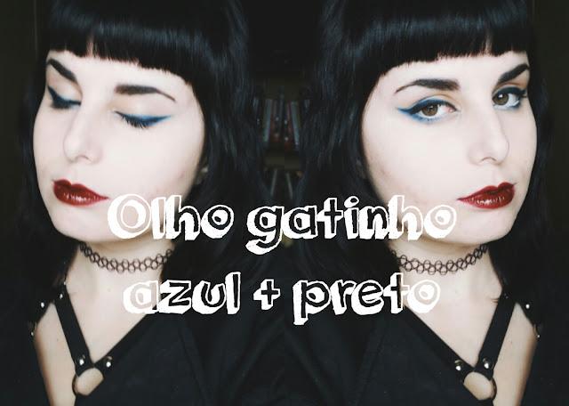 maquiagem azul e preta