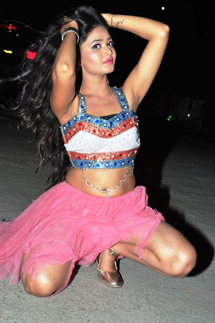 Shreya Vyas in Spicy Crop Choli and Mini Skirt at Araku Roadlo Audio Launch Event