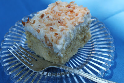 Coconut tres-leches cake with toasted coconut topping