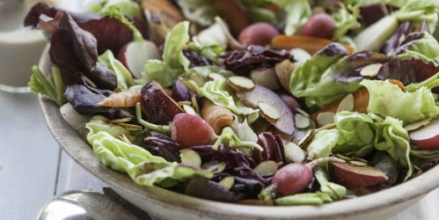 3sp - RED LEAF SALAD WITH PLUMS AND ROASTED GREEN ONION DRESSING | weight watchers recipes