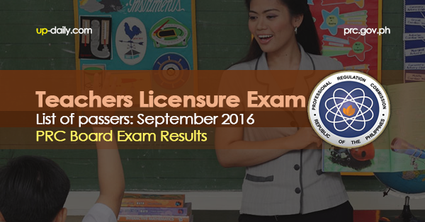 LET Exam Results, September 2016 (Elementary)