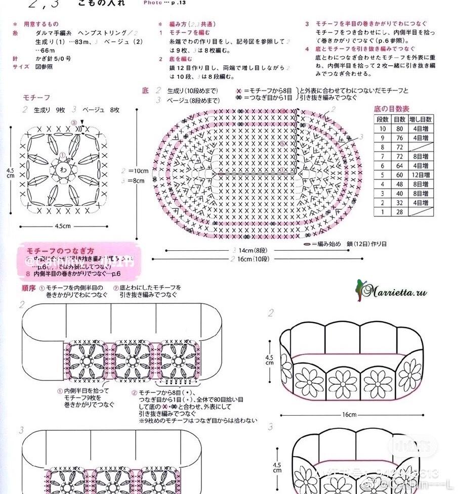 Схема вязания крючком вазочки-корзинки