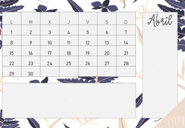 Calendario 2019 en PDF elegante gratis