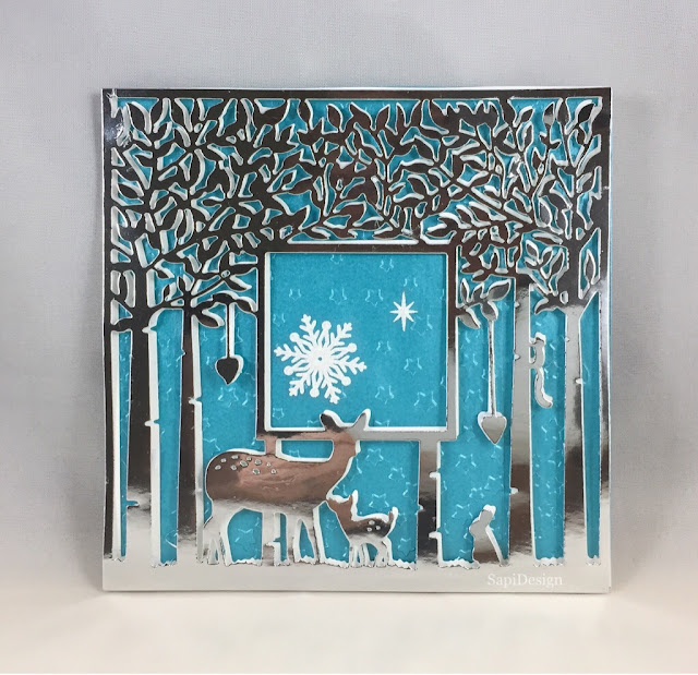 Silent Night Holy Night forest Christmas card Georgia Low Sizzix Thinlits SapiDesign
