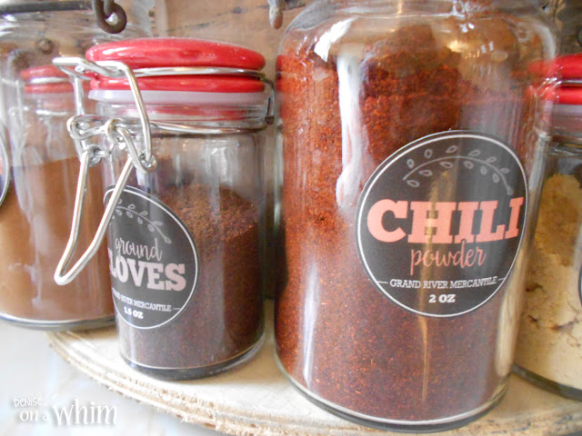 Mason Jars for Spices with Vintage Inspired Labels | Denise on a Whim