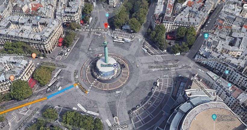 Praça da Bastilha (Google Maps) - O que fazer em Paris: principais pontos turísticos