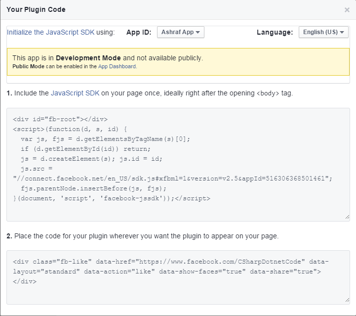 how to add facebook plugin in asp.net website