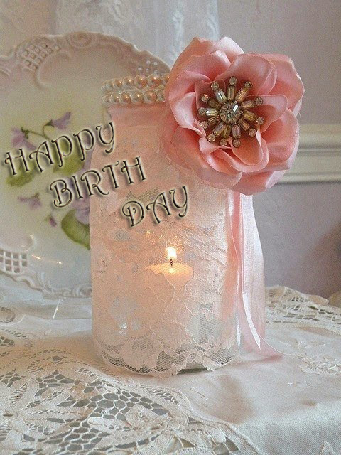 happy birth day with light pink theme