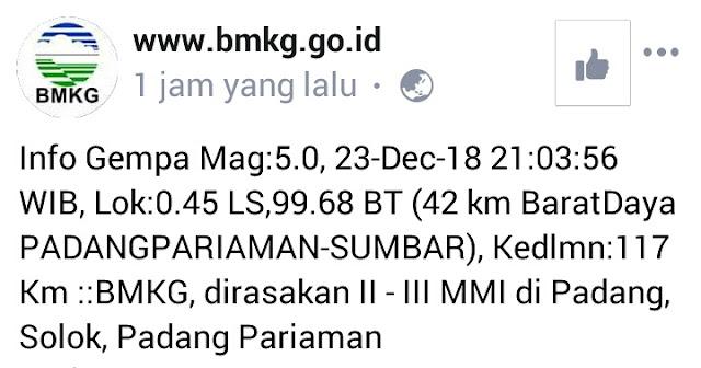 Gempa 5.0 SR Menguncang Kota Padang Dan Sekitarnya