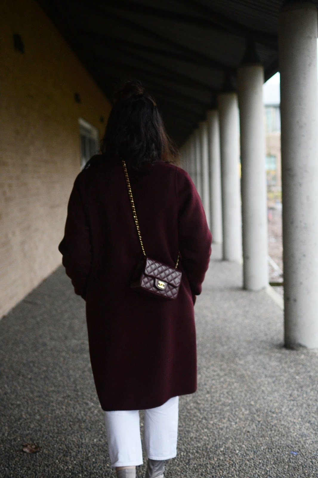 burgundy theory coat outfit vancouver fashion blogger  aleesha harris chanel mini flap bag frank and oak sweater