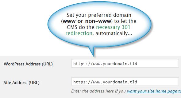 Preferred domain settings within WordPress dashboard