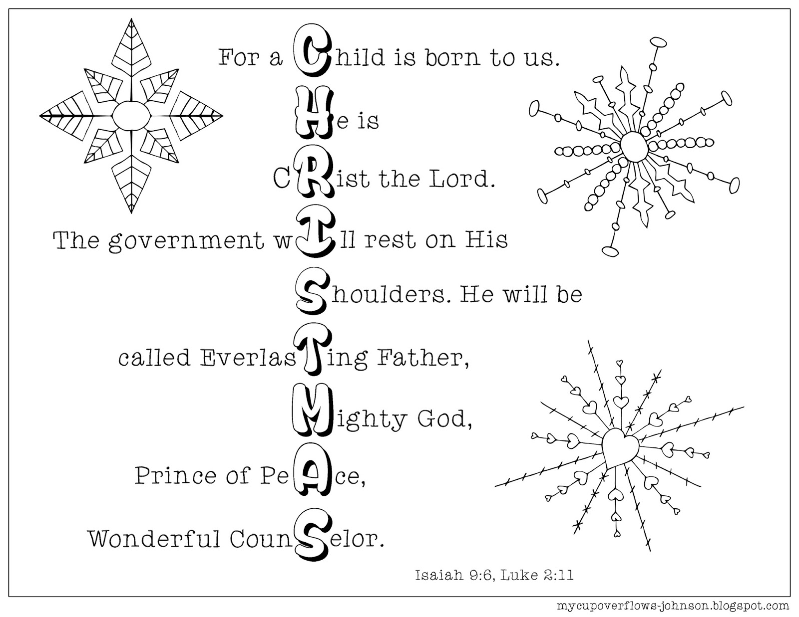 My cup overflows christmas coloring pages for Isaiah 9 6 coloring page