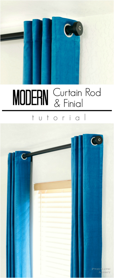 Easy to follow tutorial for making your own modern curtain rods and finals.