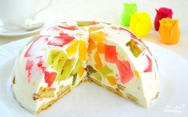 Торт желейный с бисквитом и фруктами фото