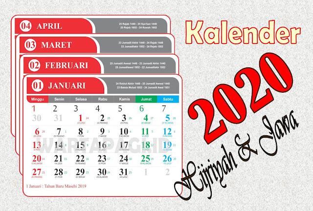 Kalender 2020 CDR Lengkap Hijriyah dan Jawa