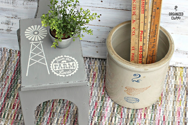 Farmhouse Style Windmill Stenciled Stool www.organizedclutter.net