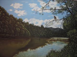 Pintor_antioqueño_paisajista_Jorge_Marin Gavilán sobre rio Magdalena