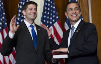 House Speaker Paul Ryan (R-WI) and Rep. Darrell Issa (R-CA) during a mock swearing in ceremony on Capitol Hill, January 3, 2017. (Credit: AP Photo/Jose Luis Magana) Click to Enlarge.