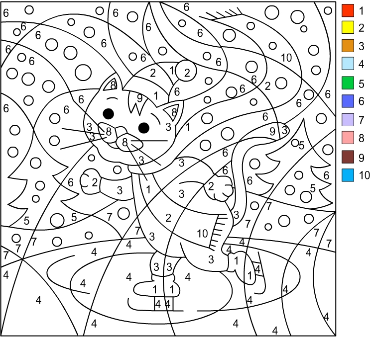 Nicole's Free Coloring Pages: WINTER * Color by number