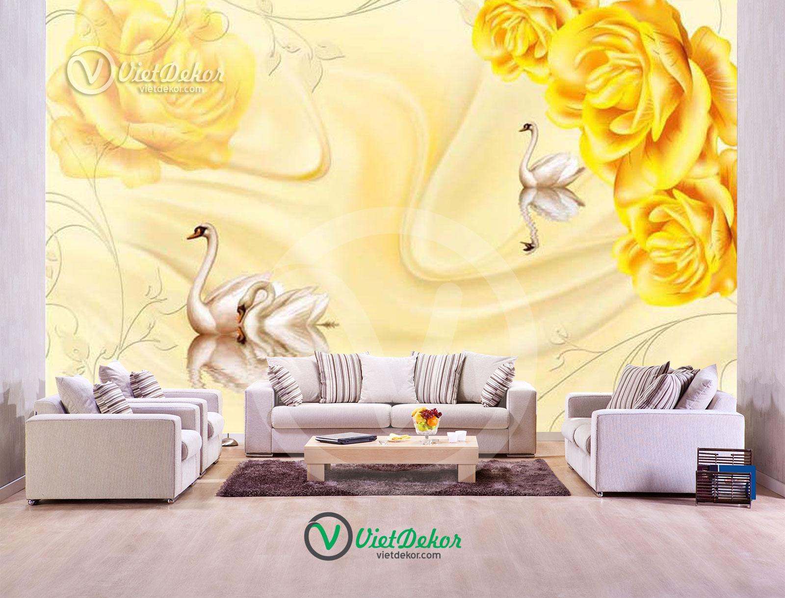 Tranh dán tường 3d hoa hồng thiên nga