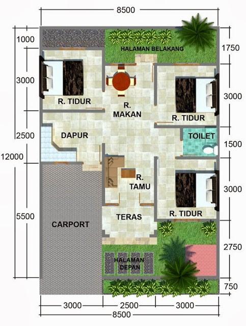 gambar denah rumah luas tanah 100 meter 2