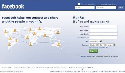 facebook login in english version only