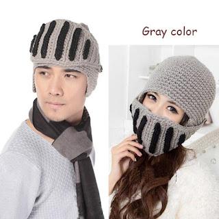 Roman Knight Helmet Knit Visor Winter Mask Beanie Hat Cap
