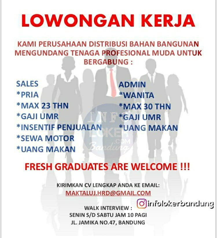 Lowongan Kerja PT. Maktaluj Bandung November 2018