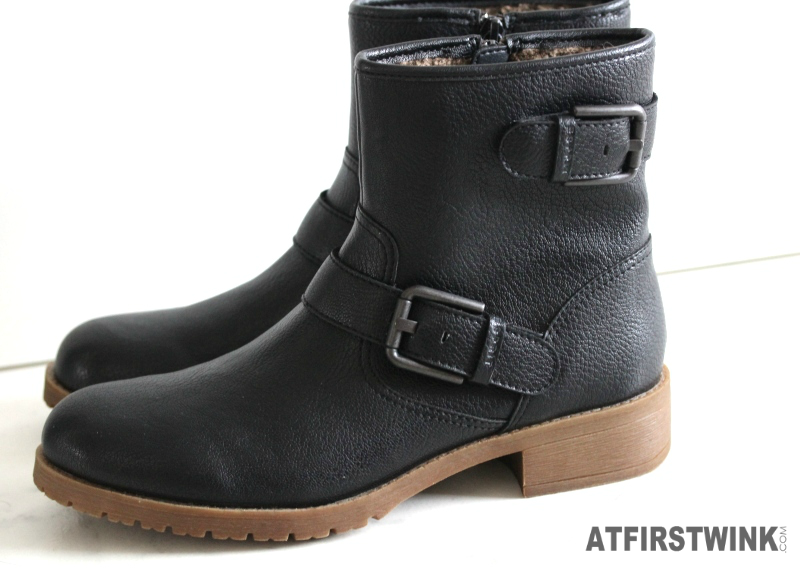 Esprit Jada bootie black leather boots with belts fur lining