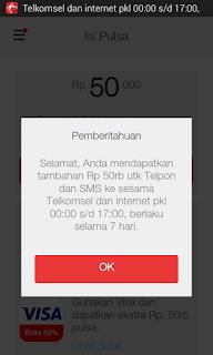 Trik Mendapatkan Gratis Pulsa Rp. 50 ribu dari Telkomsel