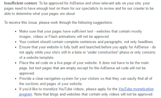 Sebab kena reject dengan Google AdSense