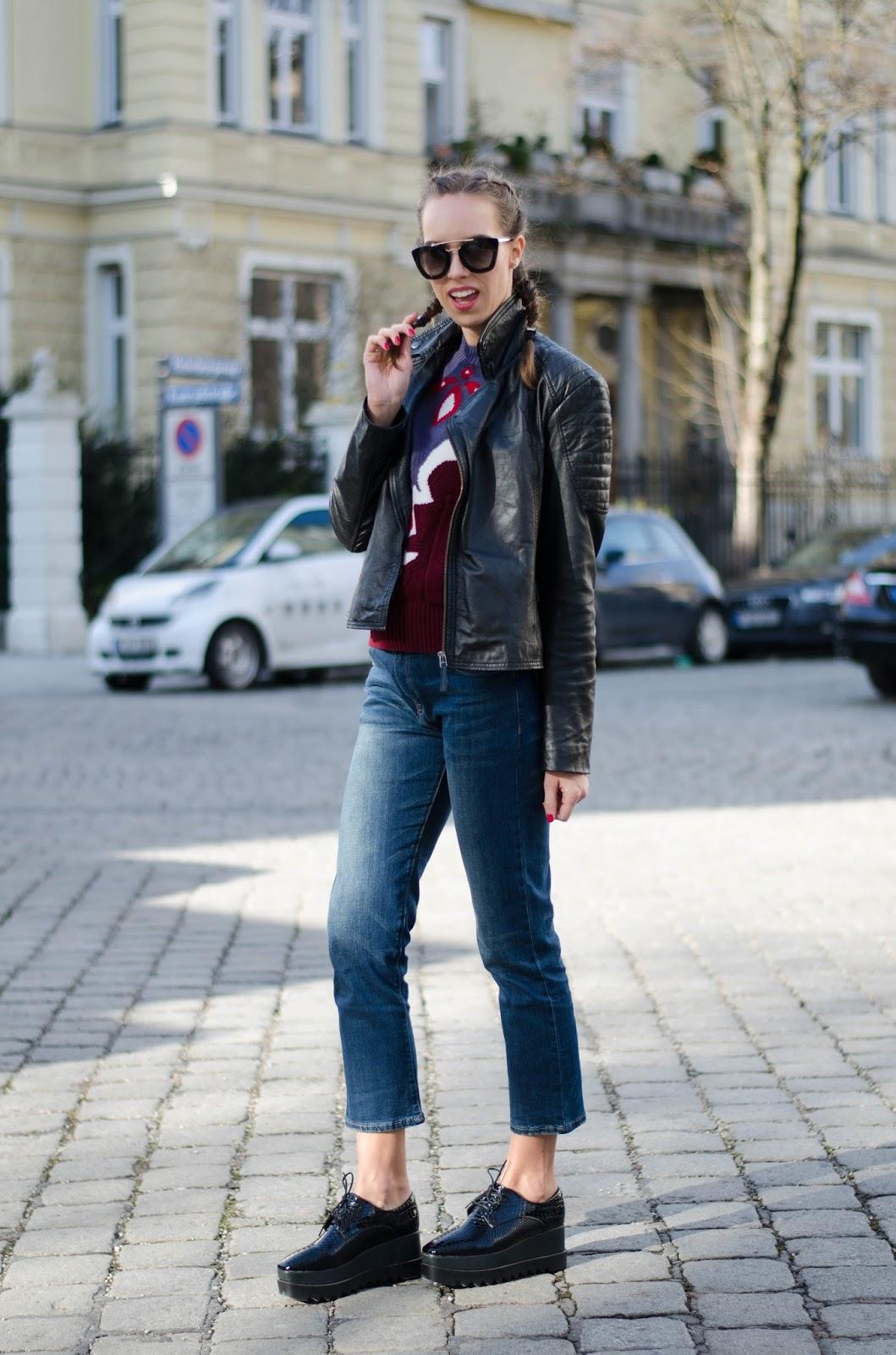 kristjaana mere prada sunglasses barneys leather jacket dutch braids spring outfit