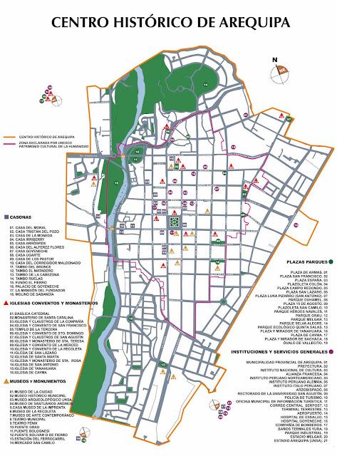 Mapa do Centro Histórico de Arequipa
