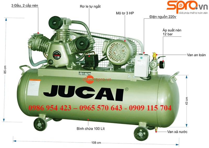 Máy nén khí jucai 3HP 2 cấp AW20012S bình chứa 100 Lít