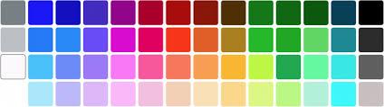 Tabela de cores e códigos
