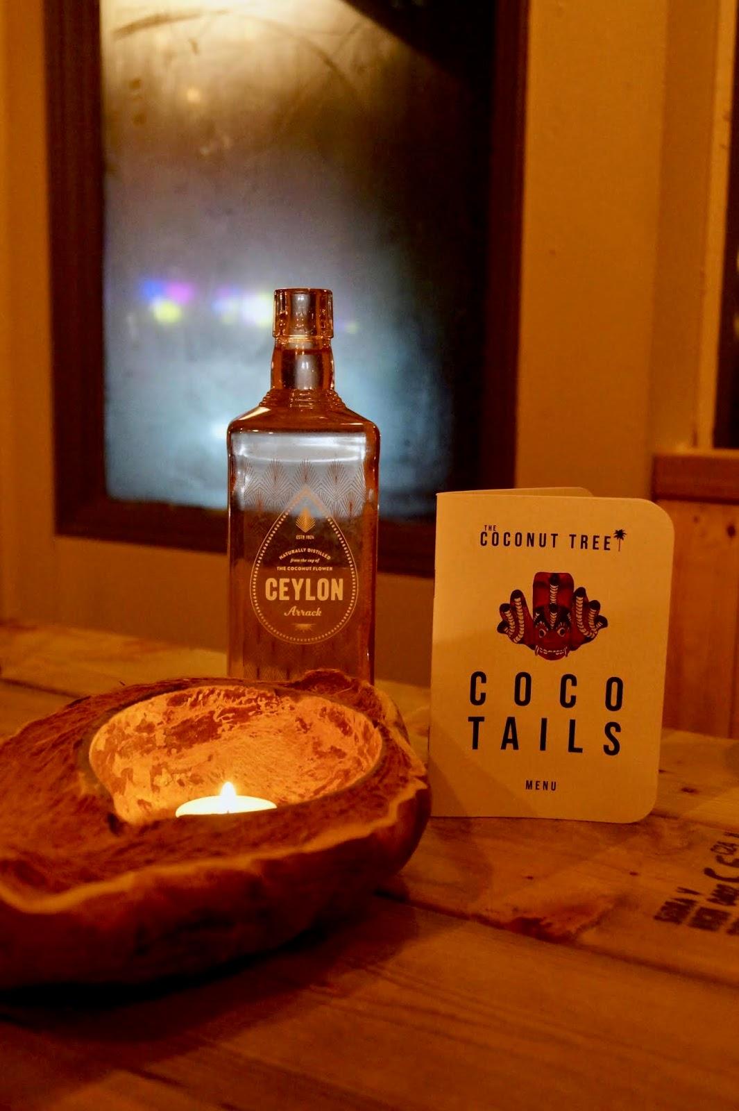 ceylon arrack bottle at the coconut tree