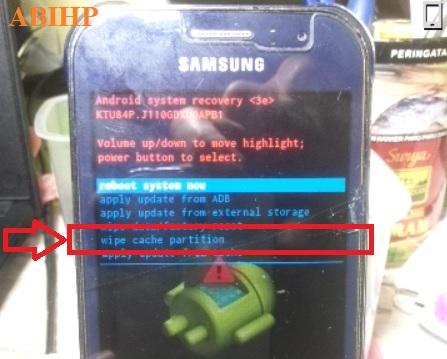 Lalu ikuti dengan pilih lagi Wipe cache partition Samsung j1 ace.