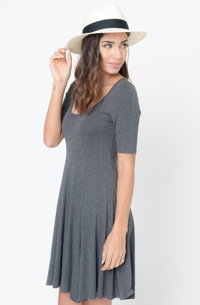 Buy Now charcoal Paneled Flared Dress Online $34 -@caralase.com