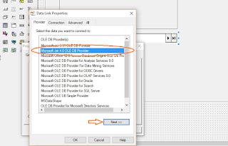 pilih Microsoft Jet 4.0 OLE DB Provider kemudian klik next untuk mencari database