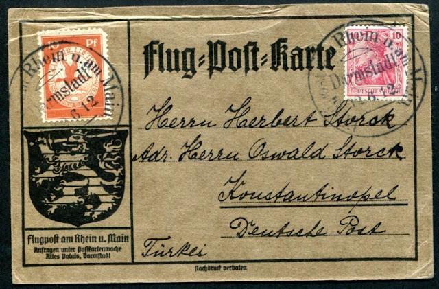 1912 Hava postası ile taşınan İstanbul'a gönderilmiş kart