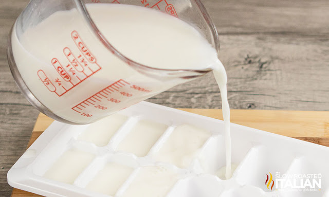 Milk Pouring into an ice cube tray