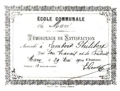 Témoignage de Satisfaction, école de Mary, 71 (collection musée)