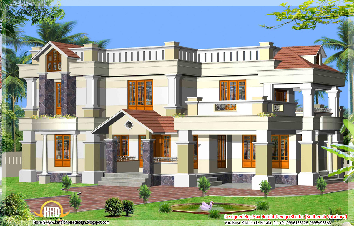 Front Elevation Of Kerala Model Houses : Beautiful kerala style house elevations home