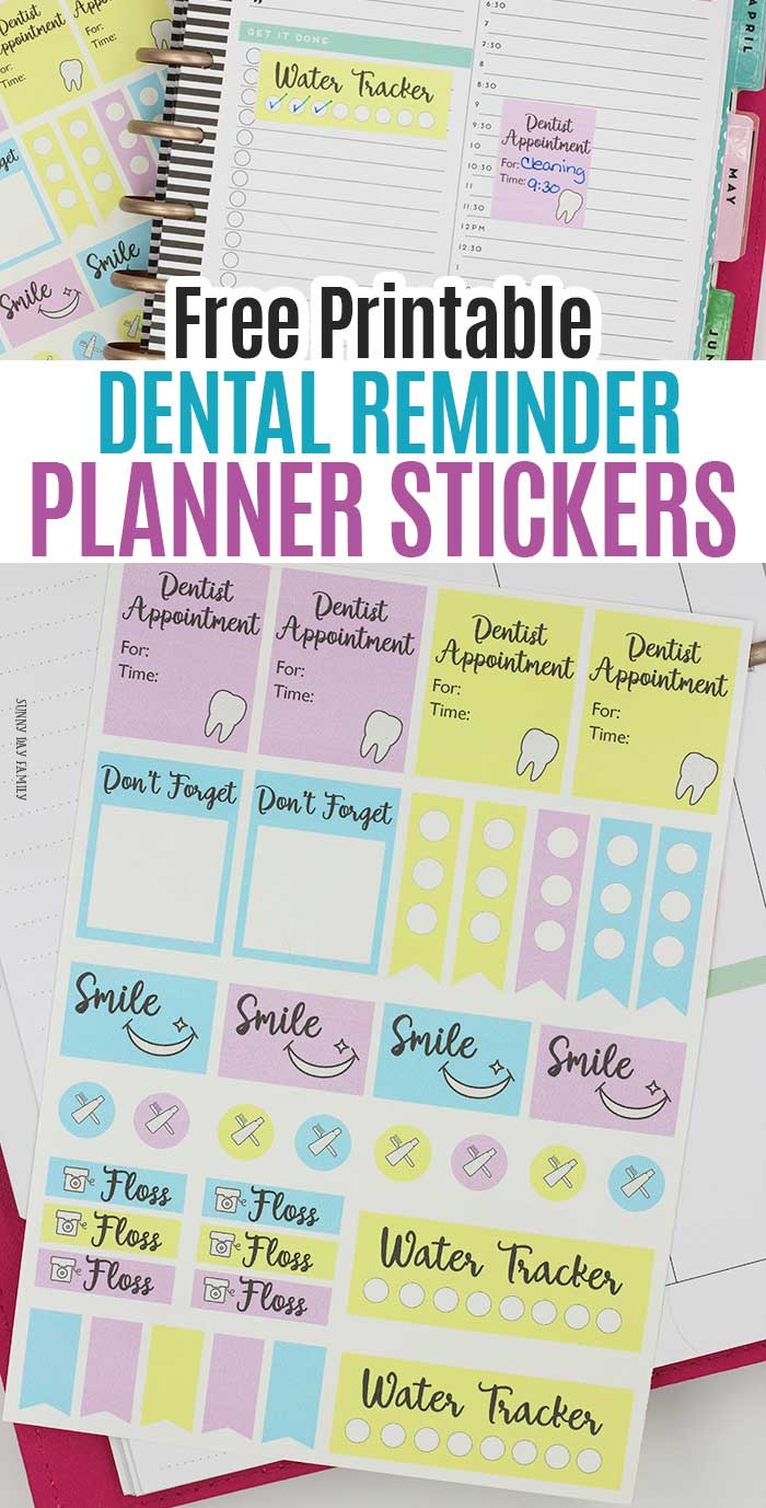 Free printable planner stickers to help keep your smile strong! These adorable printable sticker set includes dentist appointment reminders, daily floss reminders, water intake tracker, smile stickers, bullets, to do boxes, and more. Works with all planners and easy to use with Cricut machines. Plus, awesome home oral care tips too! #AD