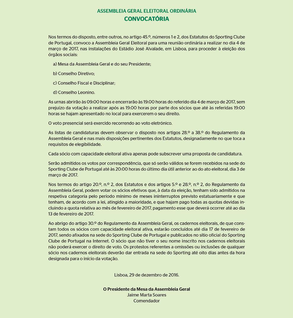 O Jornal Sporting Publicou Hoje A Convocatoria Geral Eleitoral Ordinaria Para Proceder A Eleicao Dos Orgaos Sociais Do Clube