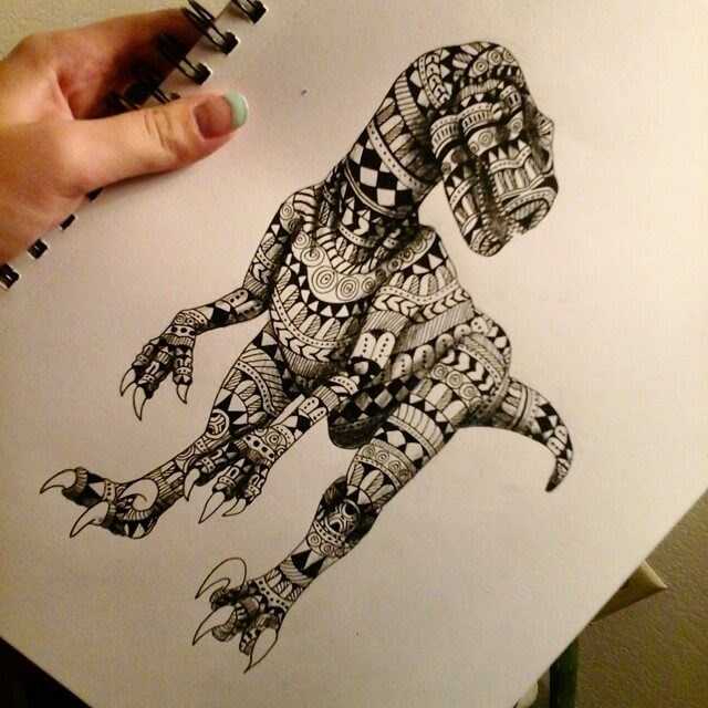 03-Velociraptor-Dinosaur-Savanna-Zentangle-Wild-Animal-Drawings-www-designstack-co