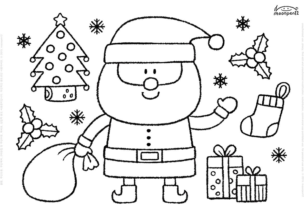 Moonpen12 Santa Coloring Book Page Print