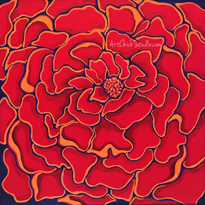 Big Red Flower Mixed Media Art Chick Studio