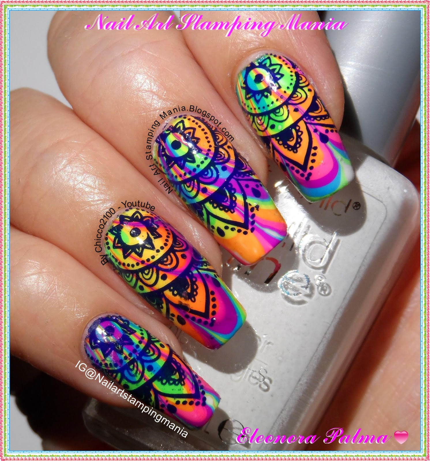 Nail Art Stamping Mania: Water Marble Manicure With Born