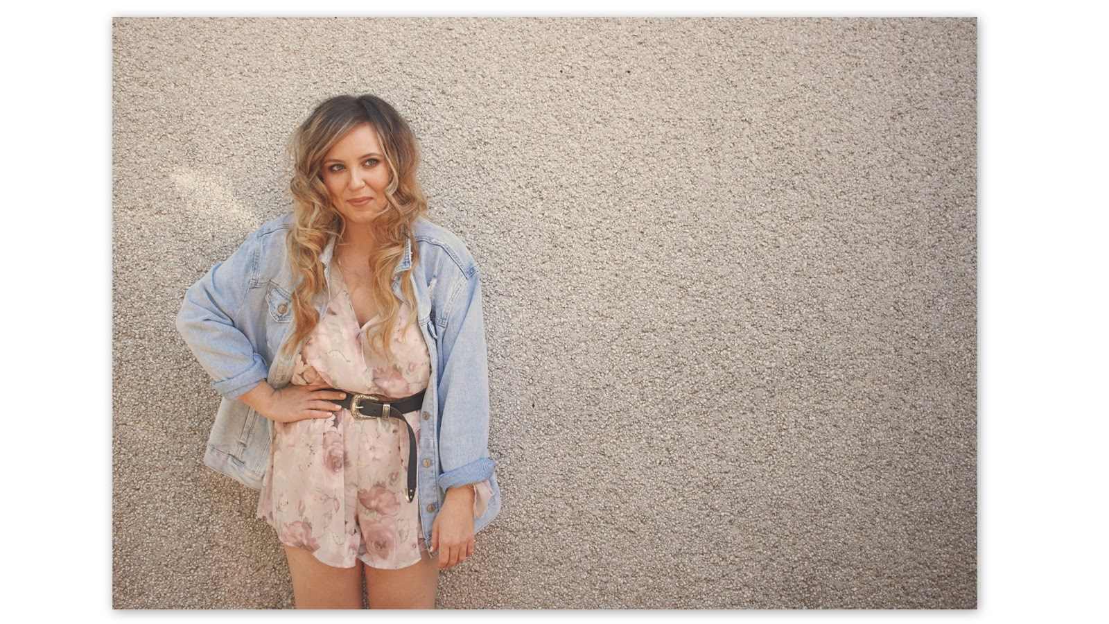 tobi floral playsuit with oversized denim jacket outfit photo, style, fashion blogger